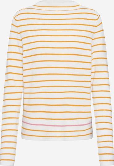 PIECES Pullover in gelb / weiß: Frontalansicht