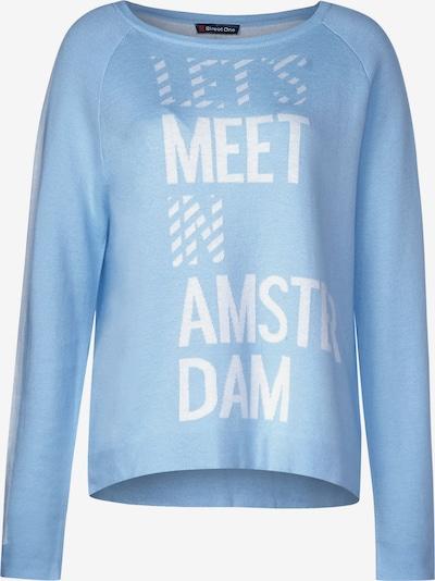 STREET ONE Pullover in hellblau / weiß, Produktansicht