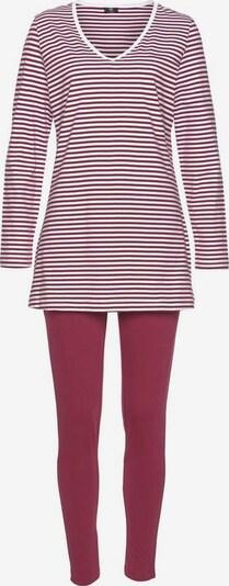 H.I.S Pyjama mit Streifenshirt und Leggings in bordeaux / weiß, Produktansicht