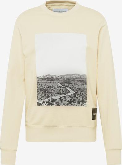 Calvin Klein Jeans Mikina 'ROAD REG CN' - béžová / černá / bílá, Produkt