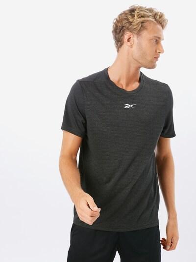 REEBOK Sport-Shirt in schwarzmeliert / weiß: Frontalansicht