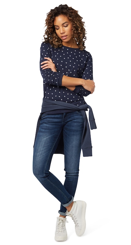 TOM TAILOR DENIM Sweatshirt mit gerafften Ärmeln