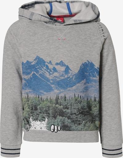 s.Oliver Sweatshirt in hellblau / dunkelblau / grau / dunkelgrün, Produktansicht