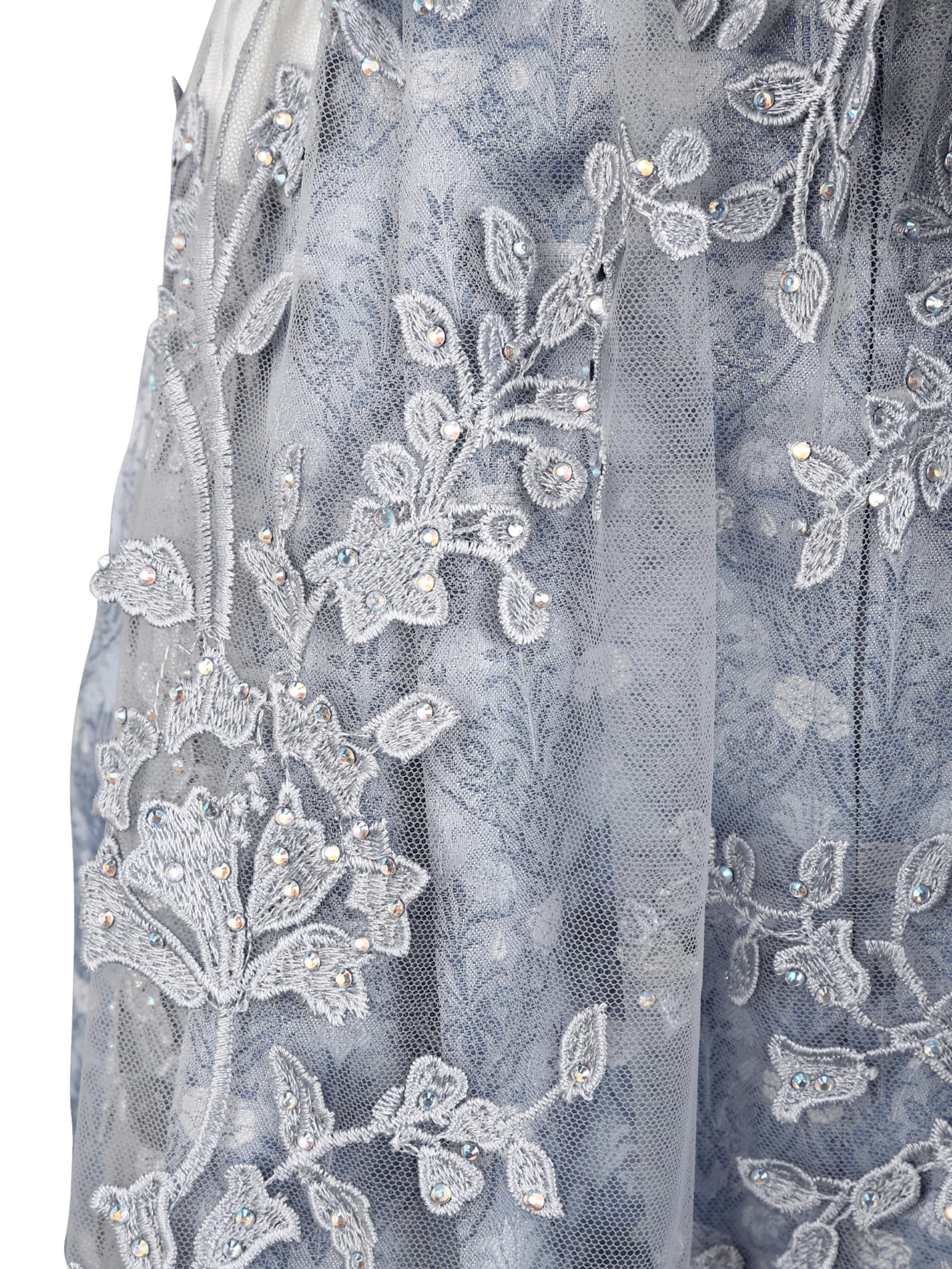 MARJO Dirndl 'Zaria' i ljusblå / silvergrå / vit