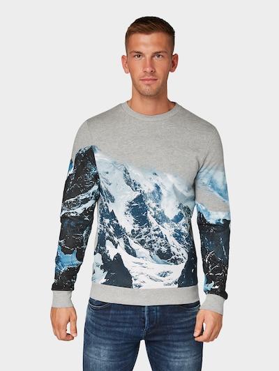 TOM TAILOR Sweatshirt in grau / schwarz / weiß: Frontalansicht