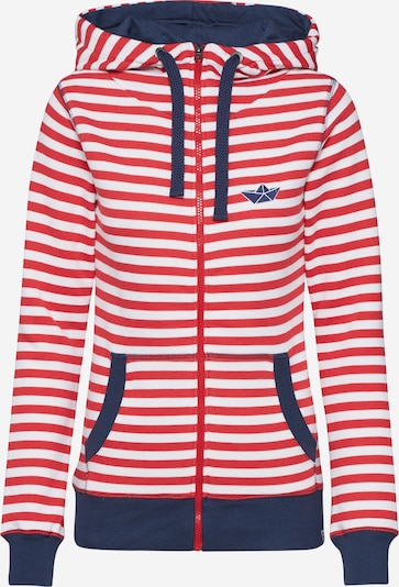 Derbe Sweatjacke 'Easy SEA' in rot / offwhite, Produktansicht