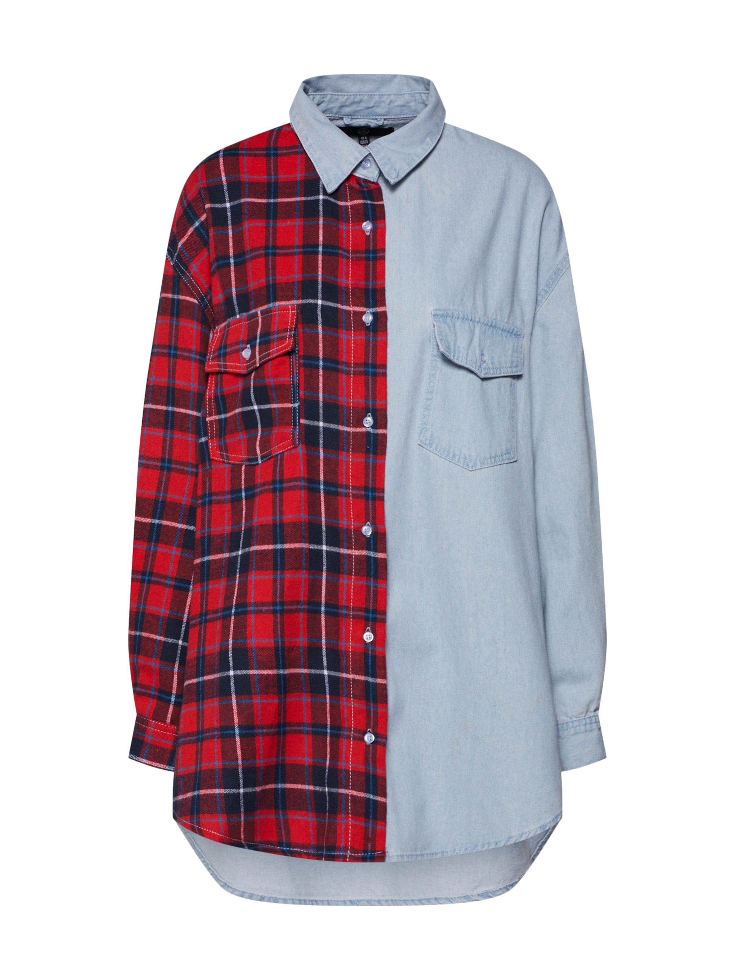 Tartan BleuRouge Missguided 'splice Check Shirt' Chemisier Denim En nP8wk0NOX