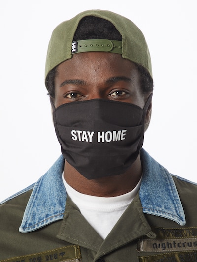 Mister Tee Wrap 'Stay Home' in Black: Frontal view