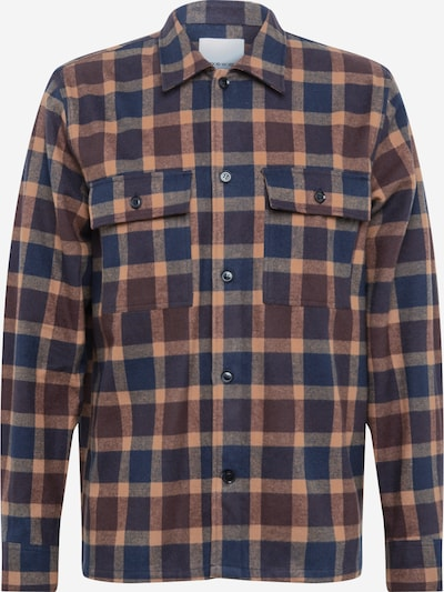 WOOD WOOD Overhemd 'Franco' in de kleur Navy / Lichtbruin, Productweergave