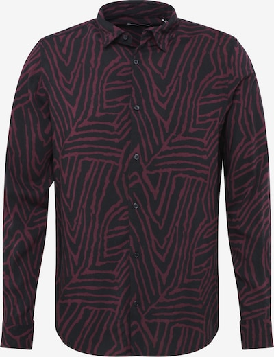 JACK & JONES Hemd 'ARIZONA' in weinrot / schwarz, Produktansicht