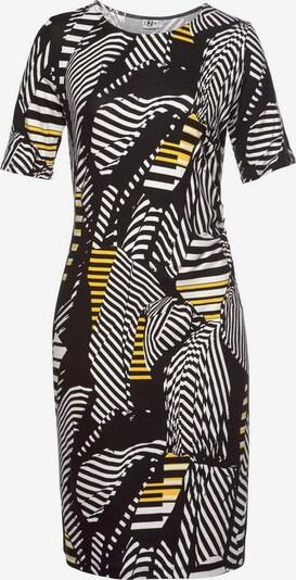 Aniston SELECTED Jerseykleid in gelb / schwarz / naturweiß, Produktansicht