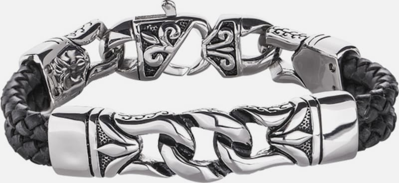 FIRETTI Armband aus Leder in mehrreihiger Optik mit Edelstahl