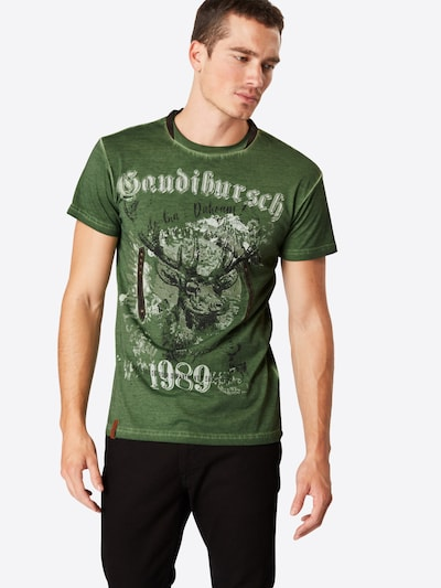 MARJO T-Shirt 'B36 Gaudibursch' in grün / mischfarben: Frontalansicht