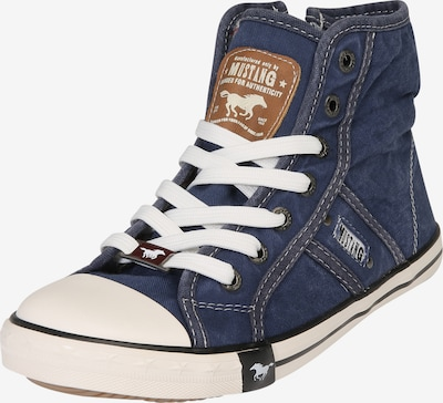 MUSTANG Hohe Sneaker aus Canvas in blue denim, Produktansicht