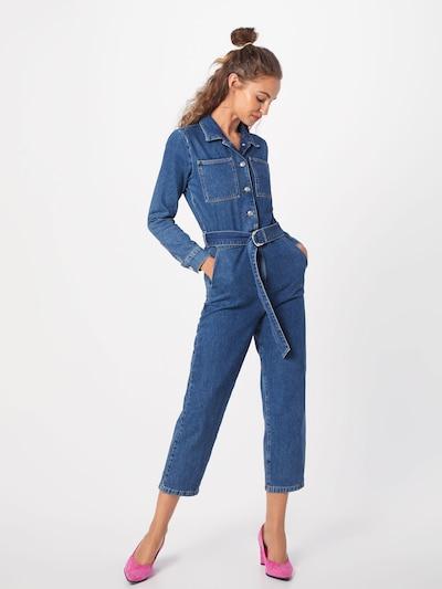 NA-KD Combinaison 'waist belt denim jumpsuit' en bleu / bleu denim: Vue de face