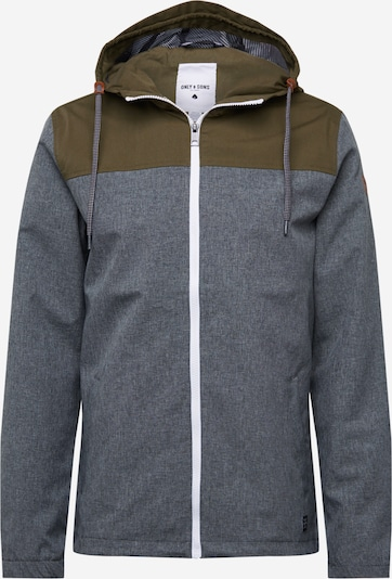 Only & Sons Jacke in grau / oliv, Produktansicht