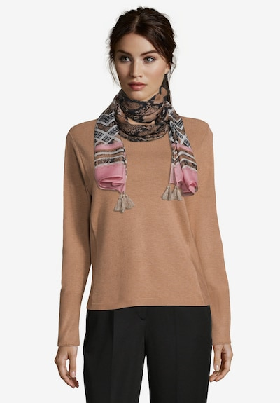 Betty Barclay Basic-Schal mit Print in camel / rosé: Frontalansicht