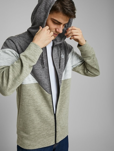 JACK & JONES Sweatjacke in grün: Frontalansicht