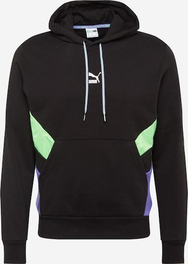 PUMA Sweat-shirt en vert fluo / violet / noir, Vue avec produit