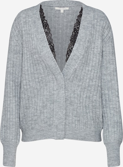 TOM TAILOR DENIM Strickjacke 'lace cardigan Cardigan 1/1' in silbergrau, Produktansicht