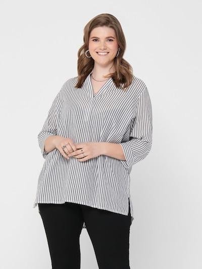 ONLY Carmakoma Blusenshirt in grau / weiß, Modelansicht