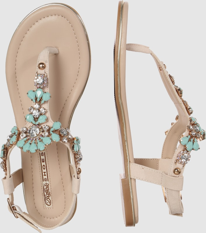 Haltbare Mode billige Schuhe BUFFALO   Zehentrenner mit Ziersteinen Schuhe Gut getragene Schuhe