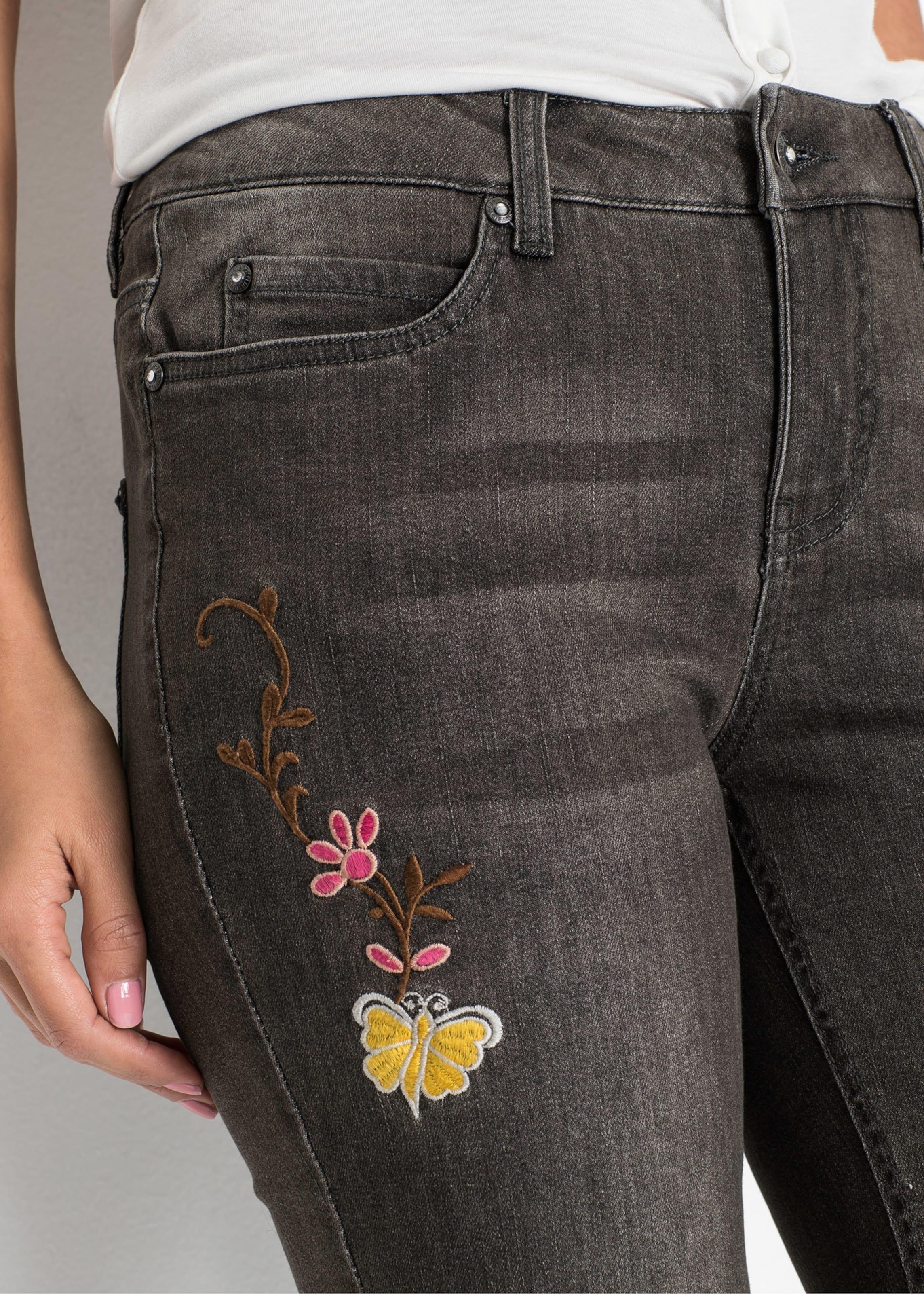 In Bonprix Denim Mit Rosa Jeans BraunGrey Stickerei FJ3l1cKT