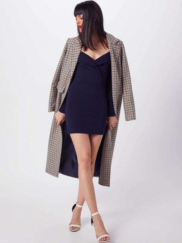 Foldover Bleu Mini Dress' 'bardot En Missguided Robe Foncé 53jRL4Acq