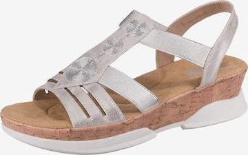 RIEKER Strap Sandals in Silver