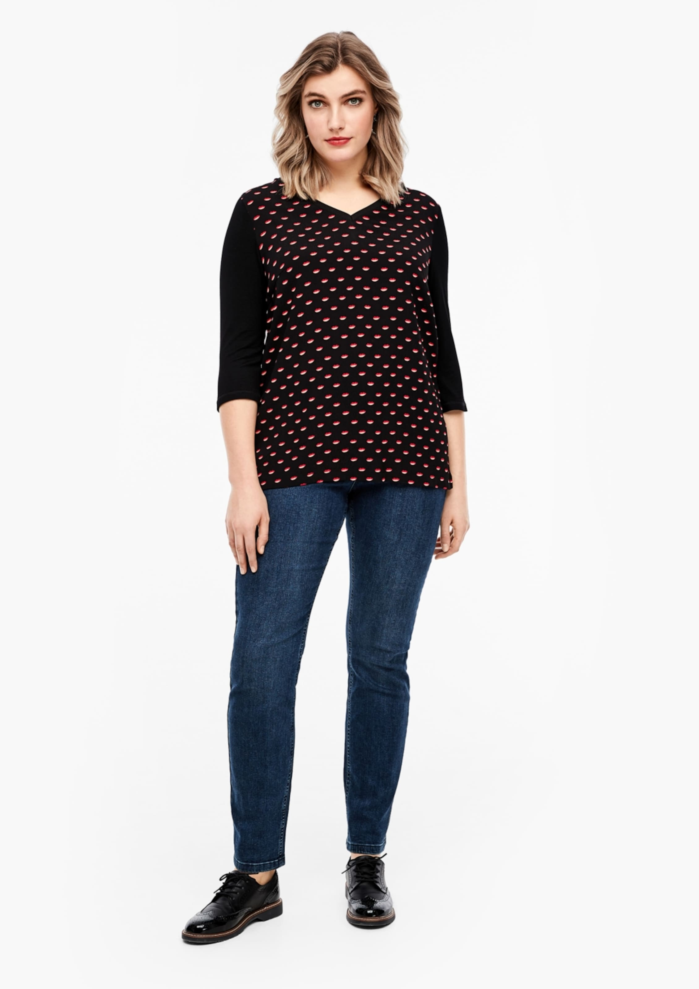 TRIANGLE Shirt in rot / schwarz