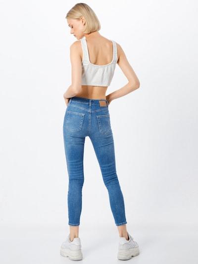 PIECES Jeans 'PCDELLY SKN MW CR LB124-BA/NOOS' in blue denim: Rückansicht