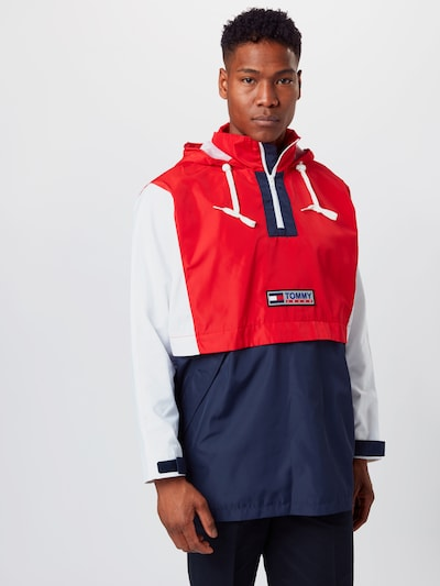 Tommy Jeans Jacke 'Colorblock Popover' in navy / rot / weiß, Modelansicht