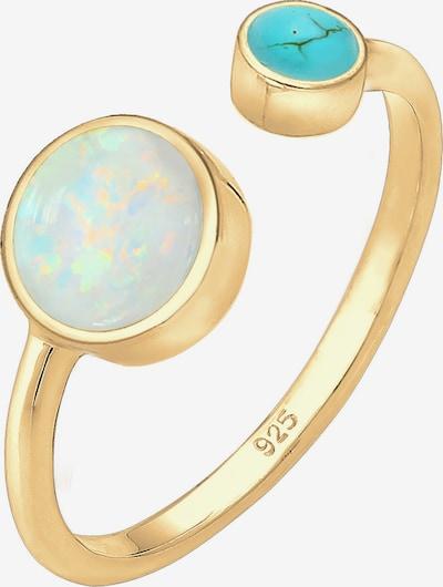 ELLI Ring 'Opal' in blau / gold, Produktansicht