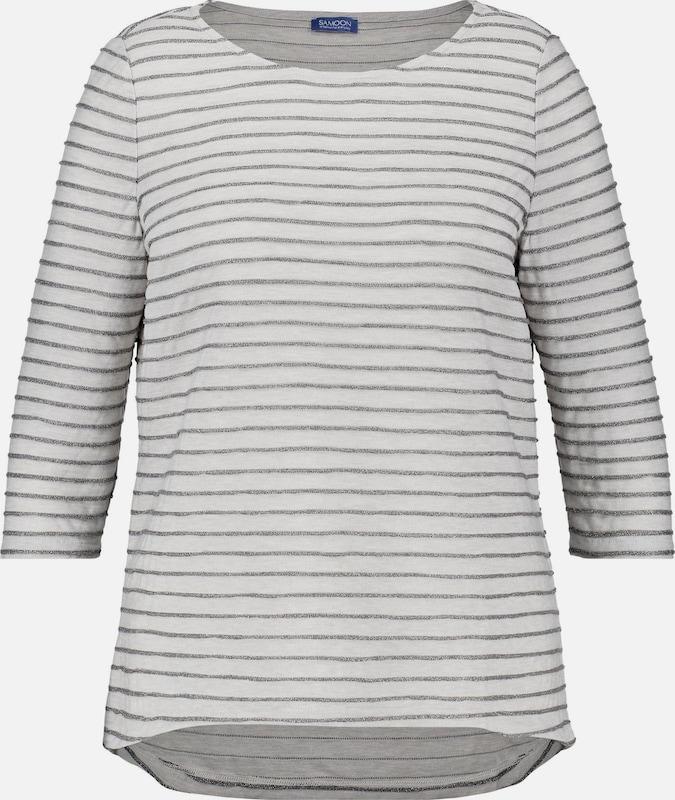 SAMOON T-Shirt in silbergrau   weiß  Neuer Aktionsrabatt