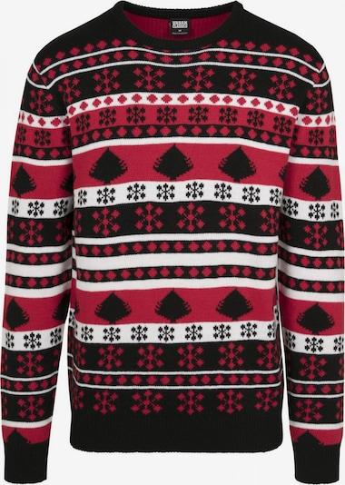 Urban Classics Pullover 'Snowflake' in feuerrot / schwarz / weiß, Produktansicht