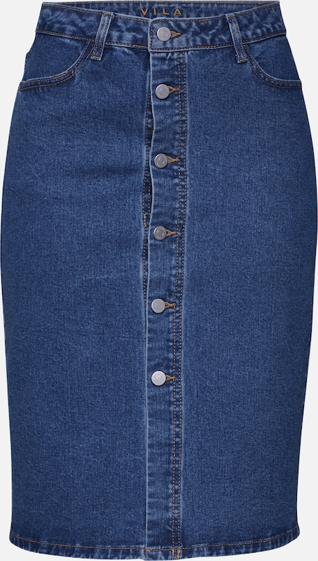VILA Rock 'VIARTA HW DENIM SKIRT' in blue denim, Produktansicht