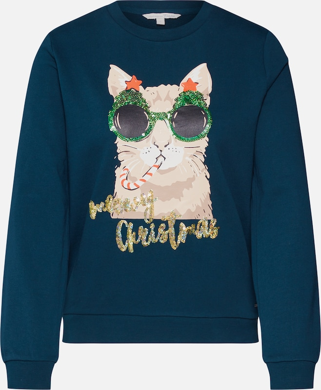 TOM TAILOR DENIM Sweatshirt 'christmas' in tanne / mischfarben, Produktansicht