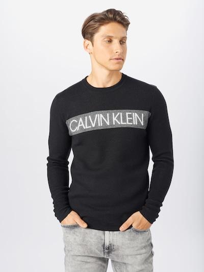 Calvin Klein Sveter - sivá / čierna / biela: Pohľad spredu
