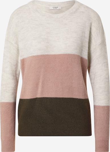 JDY Sweater 'ELANORA' in Light grey / Dark green / Pink, Item view