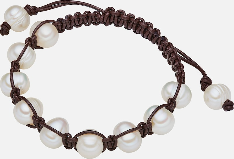 Valero Pearls, Genuine Leather Wristband With Freshwater Cultured Pearls