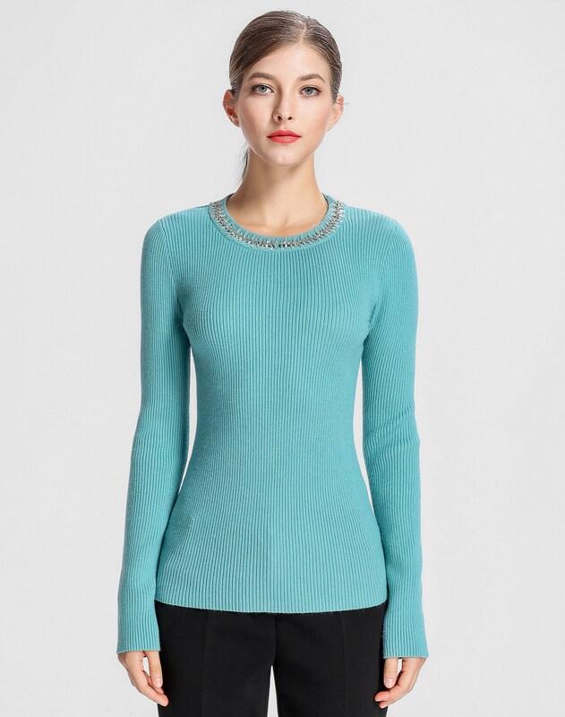 APART Pullover mit Perlen und Glasperlen am Ausschnitt