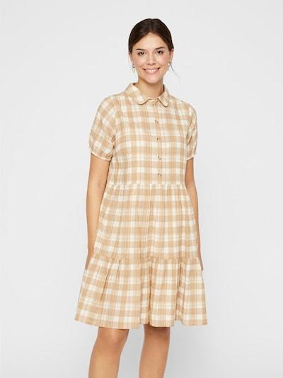 PIECES Kariertes kurzärmeliges Kleid in gelb / grau / weiß: Frontalansicht