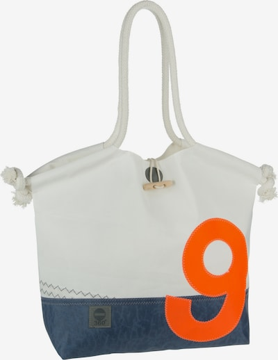 360 Grad Shopper 'Muschel' in taubenblau / orange / weiß, Produktansicht