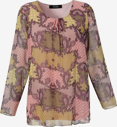 Aniston SELECTED Bluse in senf / schilf / aubergine / altrosa, Produktansicht