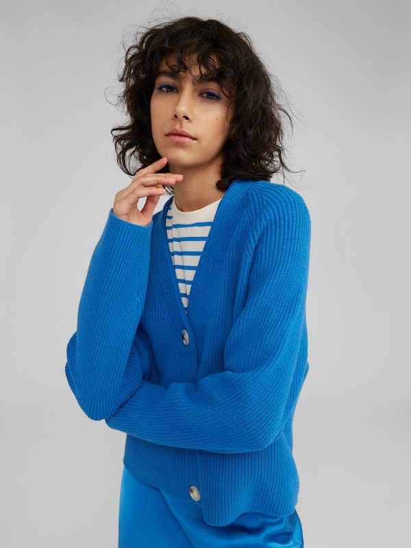 EDITED Strickjacke 'Logan' in blau, Modelansicht