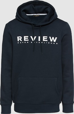 Review Sweatshirt 'HOODY' in Navy / Wit