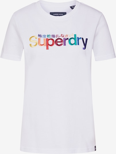 Superdry Shirt 'CLASSIC RAINBOW EMB ENTRY TEE' in weiß, Produktansicht