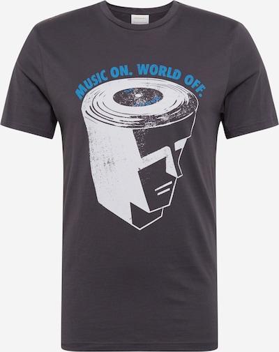 ARMEDANGELS Shirt 'JAAMES MUSIC' in de kleur Hemelsblauw / Zwart / Wit: Vooraanzicht