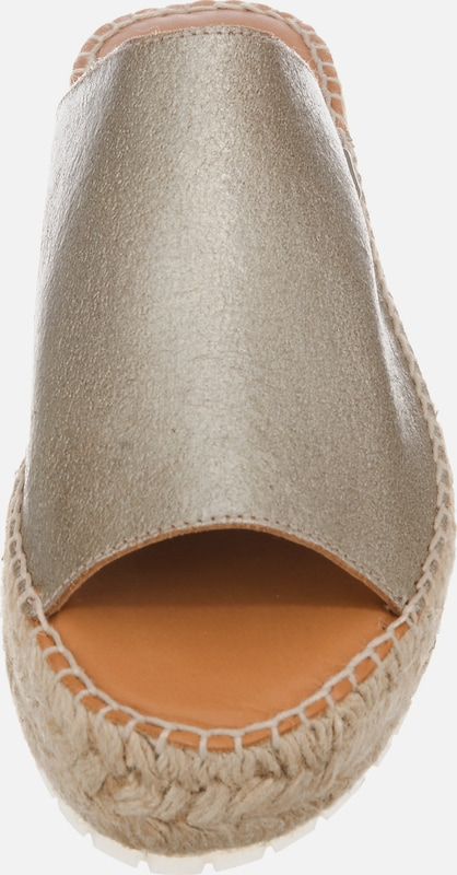 SHABBIES AMSTERDAM ESPADRILLE METALLIC LEATHER Plateau-Pantoletten