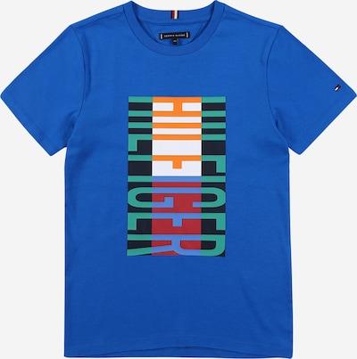 TOMMY HILFIGER Majica | modra / limeta / temno oranžna / rdeča / bela barva: Frontalni pogled